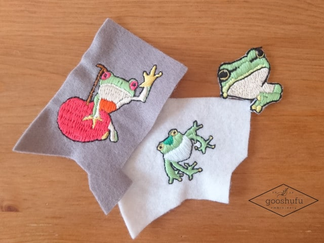 カエルの刺繍ワッペン。服に張り付く可愛いやつ