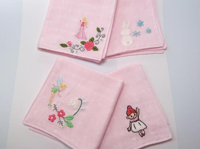 入園・入学祝におすすめ。手刺繍入り ガーゼハンカチ 4枚セット
