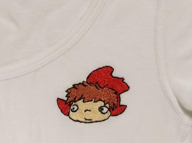 ポニョのワンポイント刺繍