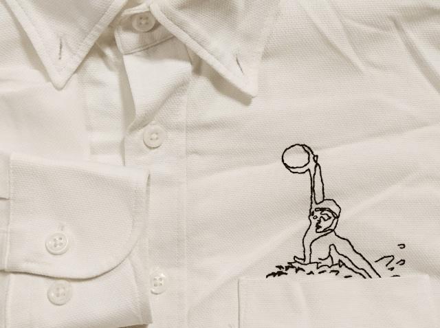 白シャツに水球選手を刺繍。たまには旦那にも。