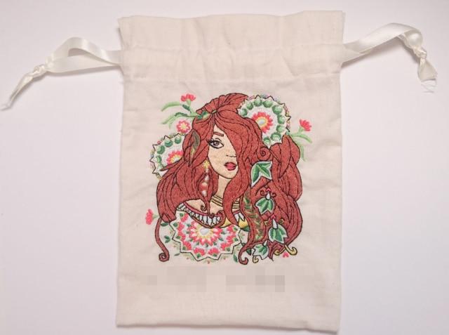 アジアンテイストの歯磨きセット入れ。オリジナル刺繍で作る通園グッツ。